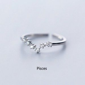 925 Sterling Silver Zodiac Resizable Ring-Pisces